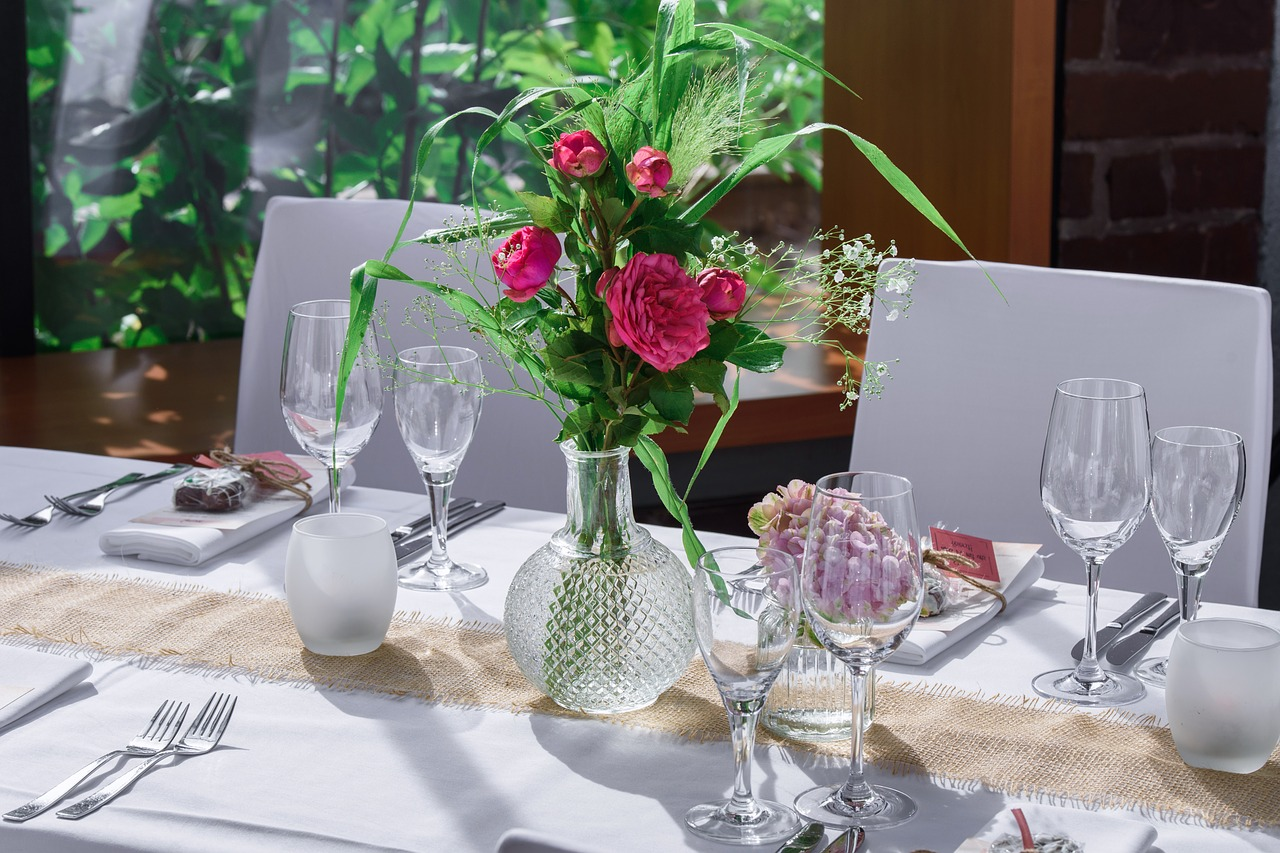 fancy table with silk cloth and dinning set