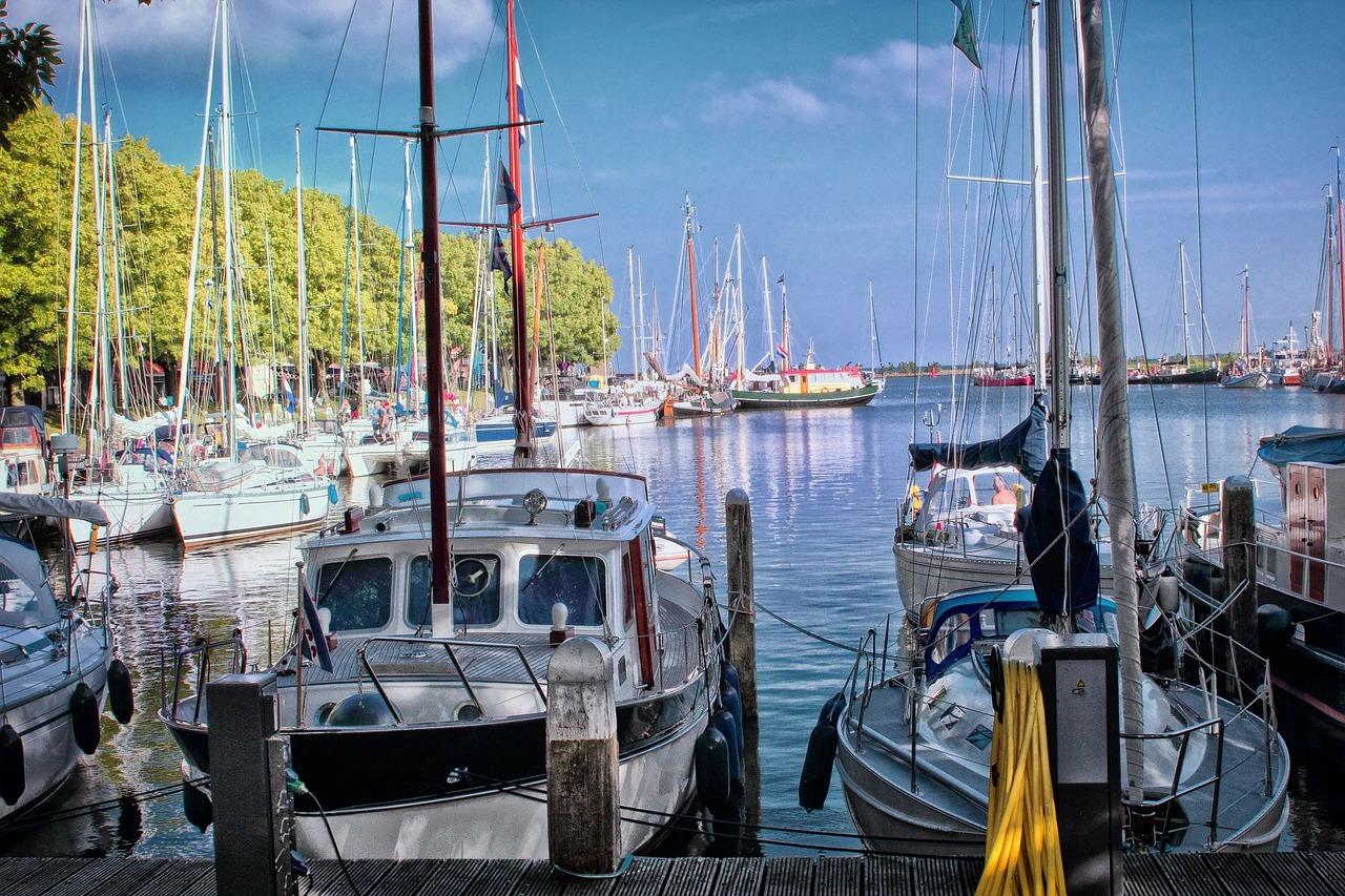 boats docked near the island